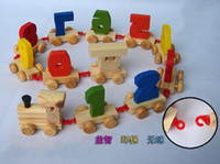 Wholesale Children s Baby s Educational Toys Learn Digital Building Block Small Colorful Wooden Train toy