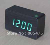 Wholesale 10 x Green light LED Maple Wooden Wood Digital desktop timer Alarm Clock VOICE mode