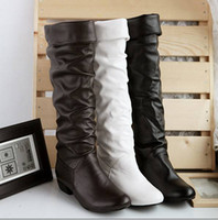 Wholesale 2012 spring autumn and winter new Fashion Cortex Flat head Fold Sweet Artificial PU Boots