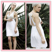 Portrait beautiful portraits - Custom made A line beautiful deep V neck strap crystal beading bow low back short garden bridal gown
