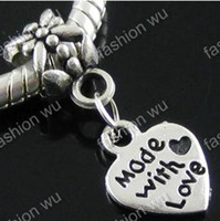 "Charms   MIC IN STOCK 100 Pcs lot ""made with love "" Heart Beads Fit Bracelet"