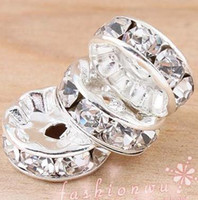 Wholesale MIC IN STOCK Silver Plated Rhinestone Round Beads Spacers Bead mm