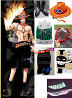 Wholesale Japanese Cartoon Anime cosplay One piece D Ace Cosplay Costume Set Pants Bag Cap Necklace Tattoo Sticker freeshipping