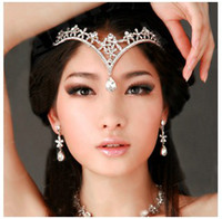 Wholesale Fashion Crystals Rhodium Plated Bridal Tiara Bridal Accessories Crown Hair Model A