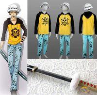 Wholesale Japanese Cartoon Anime cosplay One piece Trafalgar Law Cosplay Costume Set Jacket Pants Cap Wood Sword Winter Cloak
