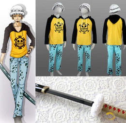 Wholesale One piece Trafalgar Law Cosplay Costume Set Jacket Pants Cap Wood Sword Winter Cloak