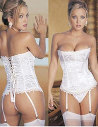 Wholesale lowest price sexy corset white weeding bone corset g string garter set corset sexy lingerie