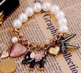 Retro Imitation Pearl Elephant Bracelet Bow Heart Bracelets