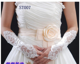 Wholesale Hot Lowest Price Free Ship Long White Wedding Party Fingerless Lace Satin Bridal Gloves Wedding Embroidered Gloves