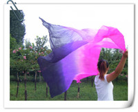 Belly Dancing sari - BELLY DANCE chiffon VEILS sari SILK hand dyed pink purple black