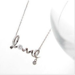 Love necklace Silver Necklace pearl chain Fashion Jewellery factory price free shipping