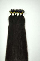 "black straight 1.0g Wholesale - 300S 18"" -24""Pre Keratin Flat-Tipped Human Hair Extensions #1B off black ,1g s 100g set"