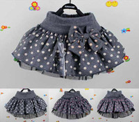 Wholesale Big dot New Beautiful Cute baby Girl bow A Line woolen Skirt baby tutu cake skirt V7048