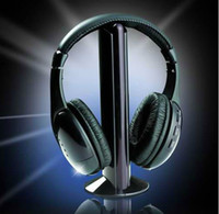 Wholesale 5 in HIFI Wireless headphone Earphone Black wireless Headset Transmitter receiver and audio line JJD1627