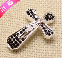 Connectors crystal crosses - 46 mm Jesus cross jewelry Bracelet connector alloy crystal cross