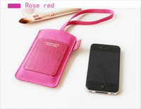 Wholesale Cell Phone Bag Suede Leather Microfiber Pouch Antennashop Bag With Card Slot amp Belt For iPhone S