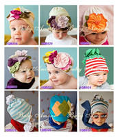 Flower cotton 1-50piece/lot 29 styles ! NEW Baby hats girls' hat headband barrette headdress flower beanie hair pin clip caps