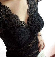 Wholesale Brand new full lace woman croset waistc blouses with chest fill deep V singlet fashion wear