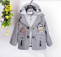 Wholesale Children s coat boy The bird Bear Hooded two piece children s jacket