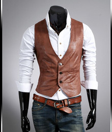 Wholesale 2014 New Slim Fit Imitation Leather PU Men s Vests Waist_Length Brown Black Suits For Man Chritmas