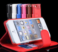 Leather For Apple iPhone  Flip Stand Leather Case Cover Skin for Iphone 5 5G 5th Wallet Card Holder Protector Cover 6colors