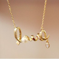 Wholesale Letter necklace gold necklace diamond chain Fashion Jewellery factory price