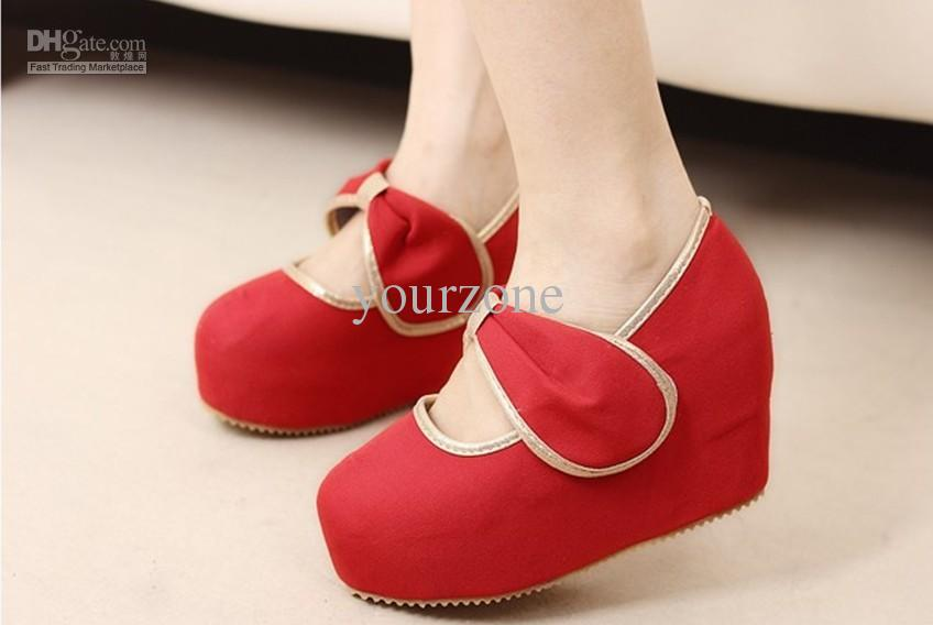 Sexy Ankle Bandage PU Womens Wedge Shoes-No.1