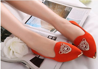 Wholesale Hotsale Fashion Sexy Womens Flat Shoes Pointed Casual Shoes Cystal Ladies Shoes IMMI SUEDE Low Heels