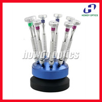 Wholesale 9pcs screwdriver glasses screw driver spectacle professional screwdriver set with swivel stand easy