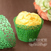 Wholesale Mixed color Candy box Laser cutting Cupcake wrappers DGW06C Cake cup wedding favors amp gift