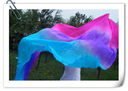 Wholesale BELLY DANCE chiffon VEILS SILK hand dyed gentle transition of color pink purple blue