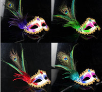 Venetian Masquerade Masks Pheasant Peacock Feather Mask Half...