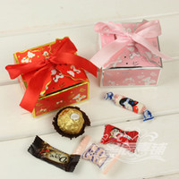 Wholesale Wedding favor boxes gift paper bags candy boxes Color bear bowknot wedding candy box