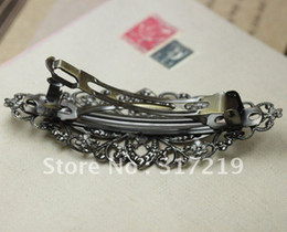 Antique Bronze With 80mm Filigree Wrap Tray Pad Bobby Hair pin clips Jewelry Findings Accessories