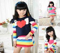 Wholesale Love Heart shirt T Shirt girl Long Sleeve Shirt Infants Toddlers T shirt long short shirt V7051
