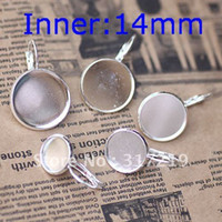 Wholesale 14mm Silver Plated Earring studs Hooks Cameo Brass stud earrings accessories earrings base setting