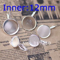 Wholesale 12mm Silver Plated Earring Hooks Cameo Brass stud earrings accessories earrings base setting Blank