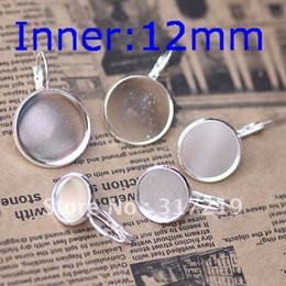 Wholesale 12mm Silver Plated Earring Hooks Cameo Brass stud earrings accessories earrings base setting Blank