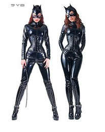 Wholesale sexy PVC rubber lingerie leather catsuit Catwoman Costume SIZE M UK8 F031