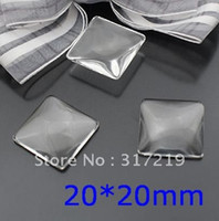 Wholesale 20 mm clear domed Square glass cabochons photo jewelry inserts available for Making Pendants