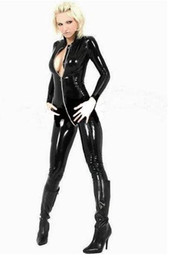 Wholesale BLACK PVC CATSUIT BODYSUIT DOMINATRIX SEXY LINGERIE ZIP F032