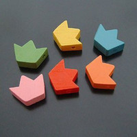 Wholesale 16 mm Korea Wooden Crown Bead Wood Earring Drop Pendants diy wood embellishments Mixed colors