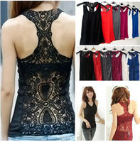 Wholesale Hot Selling Women Crochet Lace Back Tank Top Sleeveless T shirt Vest Cami Hollow out Pierced