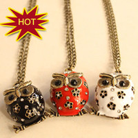 Wholesale vintage cryatal owl Necklaces black white red owl Pendants Hot charm Gift cheap drip fashion jewelry
