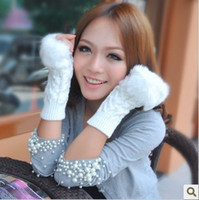 Wholesale New Fashion Warm Knitting Long Gloves with Imitate Rabbit Hair NO finger Gloves