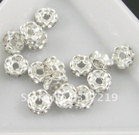 Wholesale Crystal rhinestone spacer beads rhinestone rondelle wavy bead silver plated color MM