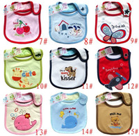 Wholesale 20pcs Toddler Baby Cartoon Bibs Infant Kids three layer Waterproof Saliva Towel Feeding Boy Girl