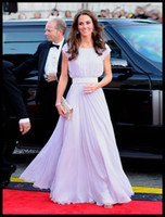 Wholesale Hot Item Elegant Kate Princess A line Floor Length Light Purple Draped Chiffon Celebrity Dresses