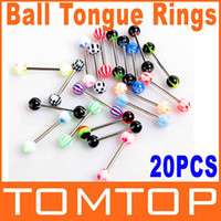 Tongue   5sets loy, 20pcs set Colorful Stainless Steel Ball Barbell Tongue Rings Bars body Piercing Jewelry ring H8821