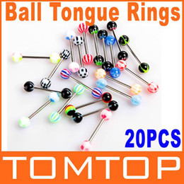 Wholesale 5sets loy set Colorful Stainless Steel Ball Barbell Tongue Rings Bars body Piercing Jewelry ring H8821